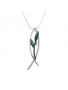 Olive Branch with Diamond Fish Pendant